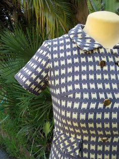 Vintage 60s Houndstooth dress coat jacket I. Magnin & Co. designer plaid lined satin gold buttons. $58.00, via Etsy.