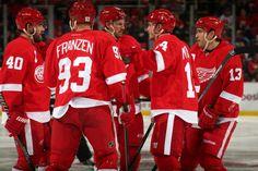 Henrik Zetterberg #40 Johan Franzen #93 Niklas Kronwall #55 Gustav Nyquist #14 and Pavel Datsyuk #13 Detroit Red Wings