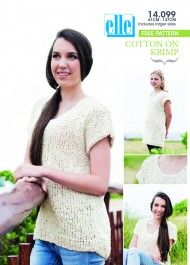Easy pullovers using Elle Cotton On Krimp Knitting Patterns Free, Free Knitting, Free Pattern, Crochet Clothes, Knitwear, Pullover, Lace, Cotton, Collection