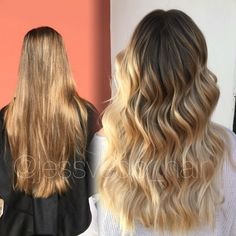 Warm blonde balayage ombre with shadow root! Beachy wave finish ✨ @jessvedo_hair FORMULA is on my Instagram