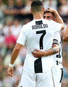 Paulo Dybala of Juventus FC celebrates his goal with his team-mate Cristiano Ronaldo during the Pre-Season Friendly match between Juventus and Juventus on August 2018 in Villar Perosa, Italy. Get premium, high resolution news photos at Getty Images Football Gif, Football Boys, Football Players, Football Hairstyles, Soccer Post, Juventus Fc, Football Wallpaper, Perfect Man, Cristiano Ronaldo