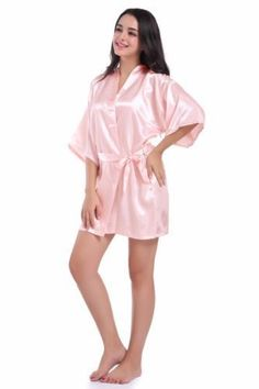 Women Satin silk robes Wedding Robe Bridesmaid Bride maid of honor Dressing  Gown 111f03d30