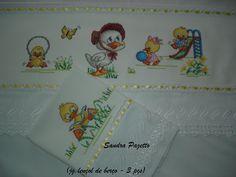 jogo lençol de berço bordado em ponto cruz
