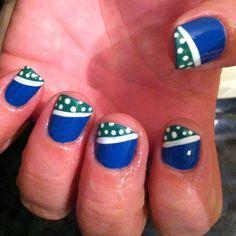Blue (sugar-daddy)nails w fluorescent green(amazon flirt) side tips w white line (sleek white)and polka dot (all gelish)