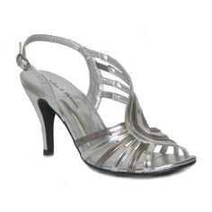 L0674  Womens Silver & Pewter Strappy Evening Sandal with Adjustable Buckle Fastening to Ankle on a High Heel   £8 www.steadandsimpson.com  #womens #strappy #silver #sandal #shoe #party #christmas #gift #present