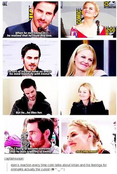Colin O'Donughue and Jennifer Morrison Jennifer's face every time Colin talks about Captain Swan. ;)