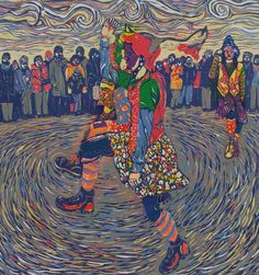 """""""Gog Magog Molly"""" reduction linocut by Louise Stebbing"""