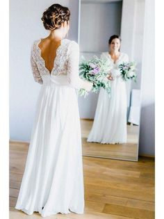 3/4 Sleeve See Through Backless Lace & Chiffon Rustic Wedding Dresses AWD1261-SheerGirl