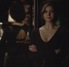 WornOnTV: Katherine's black mesh inset top with cutout back on The Vampire Diaries | Nina Dobrev | Clothes and Wardrobe from TV