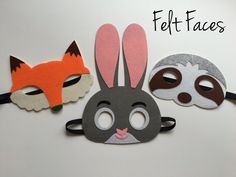 One set of 3 Zootopia party masks, one of each style shown in the photo. Each mask is made with premium felt, and has a black elastic band sewn to each side of the back. These adorable party masks are