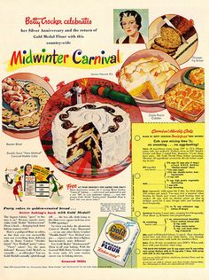 Dying for Chocolate: Midwinter Carnival Marble Cake: Retro Ad & Recipe Retro Recipes, Old Recipes, Vintage Recipes, Cookbook Recipes, Cooking Recipes, Family Recipes, Cooking Ideas, Cake Recipes, Retro Ads
