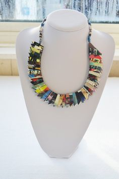 Artistic necklace handmade from recycled paper, upcycled unique, individual, unusual creative design. One of a kind