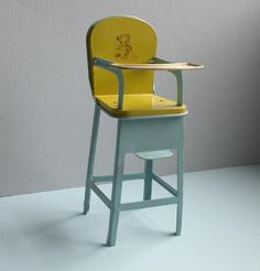 Vintage J Chein Tin lithographed Toy Doll High Chair