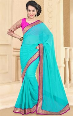 Picture of Glamorous Aqua Blue Color Pure Georgette Saree