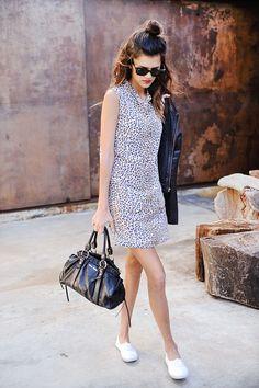 'nough said. In Equipment Dress, Joie Jacket; old but similar here, Miu Miu Bag, Keds Sneakers, Ray-Ban Sunnies & Bobbi BrownLiptstick. Shop The Look: BUNBUNBOOK waysify