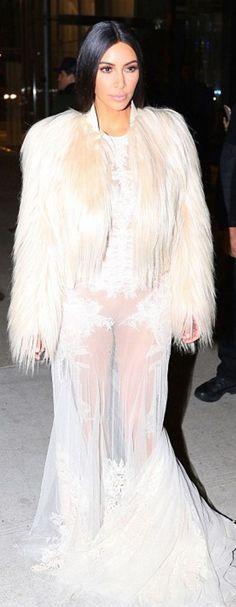 Nice Kim Kardashian Dress Who made  Kim Kardashian's tan coat, nude sandals, and white lace mesh gown?... Check more at http://24store.cf/fashion/kim-kardashian-dress-who-made-kim-kardashians-tan-coat-nude-sandals-and-white-lace-mesh-gown/