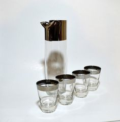 Mid Century Modern Martini Pitcher & 4 Glasses by ChicMouseVintage