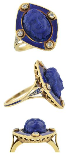 A Victorian carved lapis ring with diamonds and blue enamel, circa 1800. From A Brandt and Son.  Three views.