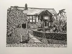 My lovely neighbours' house Linocut Prints, House, Painting, Art, Art Background, Home, Haus, Painting Art, Kunst