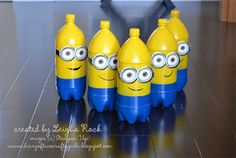 minion birthday party | Minion Bowling (made from 2L pop bottles and spray paint)