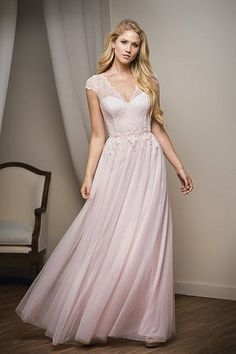 8b218c6184ae L204010 Long V-neck Lace   Soft Tulle Bridesmaid Dress with Cap Sleeves