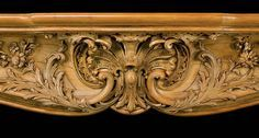 Antique Wood carved Rococo Louis XV Fireplace Mantel