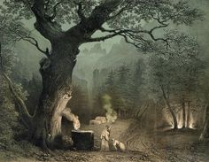 """The Sacred Grove of the Druids Unknown artist of French School, from the Opera """"Norma"""" by Vincenzo Bellini (1802-35)"""