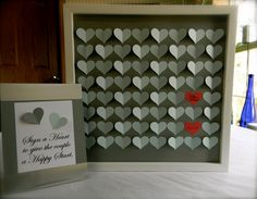 Wedding guest book alternative 3D paper hearts lovely anniversary gift. modern guestbook for the bride and groom great gift