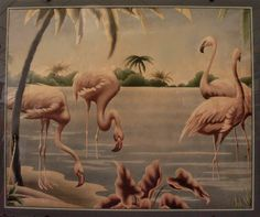 Late 1930's Art Deco Flamingo picture by Turner, available at www.FUTURESantiques.com