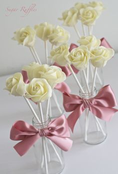 White Chocolate Rose Cake Pops | by Sugar Ruffles. Explore Sugar Ruffles' photos on Flickr.