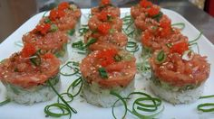 Salmon tartare with avocado and coconut rice