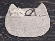 Makeup bag, White Cosmetic Bag, Cat