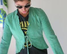 Vintage GREEN LEATHER Jacket...size small. retro. by retroandme