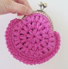 Ravelry: Sweet metal frame coin clutch crochet pattern-PDF pattern by Yofi design One Skein Crochet, Crochet Shell Stitch, Love Crochet, Crochet Coin Purse, Crochet Purse Patterns, Crochet Pouch, Crochet Purses, Clutch Pattern, Crochet Handbags