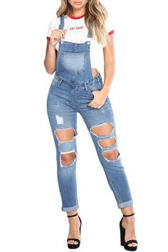 Light Blue Exposed Boyfriend Jean Overalls #jeans #fashion #casual