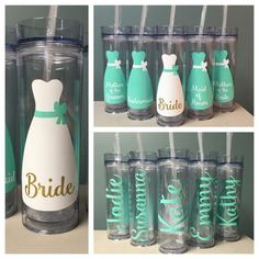 Skinny tumblers - FIVE custom bridesmaid gift cups, tall cups with name and dress, choice of colors, BPA free 16 ounce, wedding party gifts