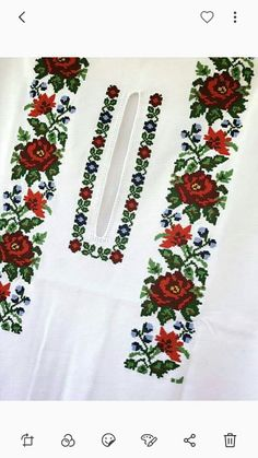 Cross Stitch Rose, Cross Stitch Charts, Cross Stitch Patterns, Russian Embroidery, Embroidery Fashion, Embroidery Patterns, Hand Embroidery, Palestinian Embroidery, Presents For Her