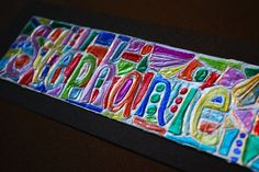 Foil and Sharpie Name Drawing - has a stained-glass look.