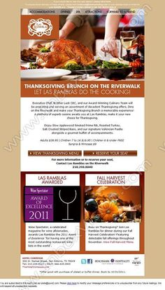 Company:    The Hotel Contessa   Subject:    Thanksgiving is Thursday, Let Las Ramblas do the Cooking             INBOXVISION is a global database and email gallery of 1.5 million B2C and B2B promotional emails and     newsletter templates, providing email design ideas and email marketing intelligence http://www.inboxvision.com/blog