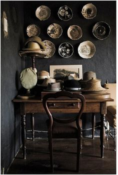 Hat collections can be an interesting an inexpensive way to add character to a room