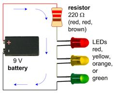 Schematic for an LED Pumpkin Candle with three LEDs.