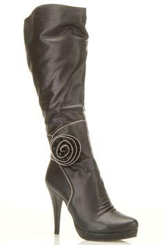 Black Boot with Zipper Rosette.
