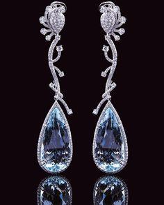 Stardust Monte-Carlo Aqua Earrings @ stardustboutiquemonaco  #aquamarine