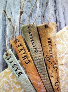 Ceramic Herb Garden Marker by cinderceramics on Etsy, $12.00