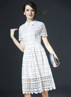 White Lace Summer Dress-----------------White Lace Solid Short Sleeve Knee-Length Dresses