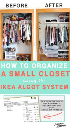 How to Organize a Small Closet for Maximum Storage Space on a budget (with IKEA Algot System Tips). My small closet was a disaster and impossible to organize before because there was so much wasted space. Now my closet is organized and there is a place for all my clothes and accessories. It actually looks neat and not overflowing! Click to see how I did it in just 1 day.