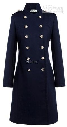 Woolen double breast Princess coat kate middleton coat color blue white trench coat