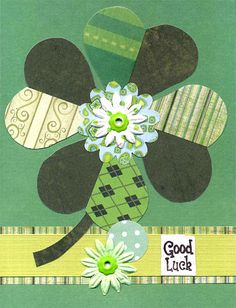 St. Patrick's Day Card with paper flower embellishments