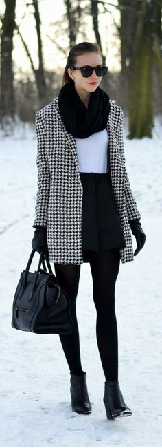/ houndstooth coat школа mode, kleid winter и outfit. Stylish Winter Outfits, Winter Outfits For Work, Casual Winter, Trendy Outfits, Fall Outfits, Skirt Outfits, Outfit Winter, Winter Wear, Dress Winter