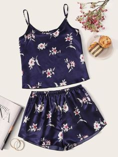 Shop Floral Print Satin Cami PJ Set at ROMWE, discover more fashion styles online. Lace Top Outfits, Casual Skirt Outfits, Cute Outfits, Night Outfits, Pretty Lingerie, Lingerie Set, Women Lingerie, Lingerie Models, Modest Fashion